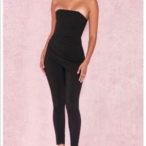 Leonida Black Strapless Jumpsuit
